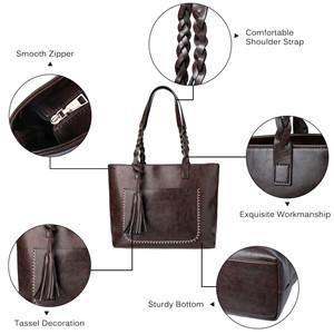 Balalafairy-han Womens Classic Handbags Leather Handbag Tassel Cowhide Bag Ladies Shoulder Bag Shoulder Sloping Leather Bag Birthday Gift Color : Blue