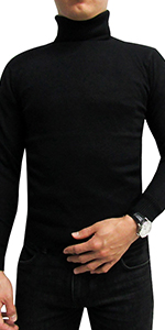 LONGBIDA Men's Slim Fit Turtleneck Casual Knitted Pullover Sweaters