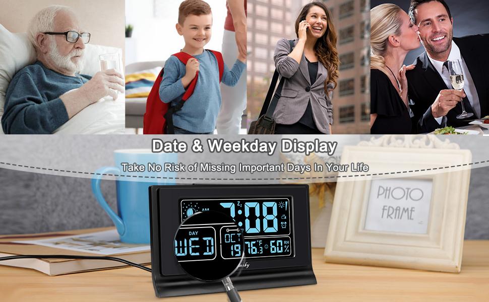 digital alarm clock auto set with date and weekday moon phase