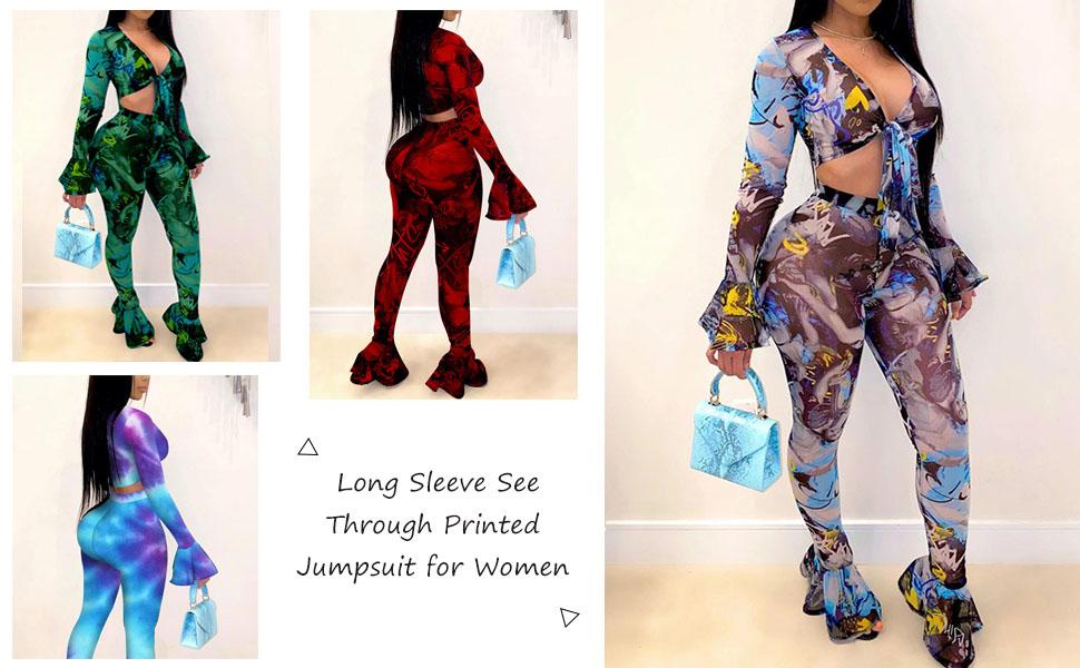 Uni Clau Two Piece See Through Jumpsuit for Women