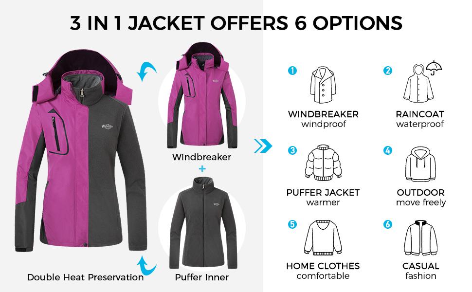 Wantdo Women's 3 in 1 Ski Jacket