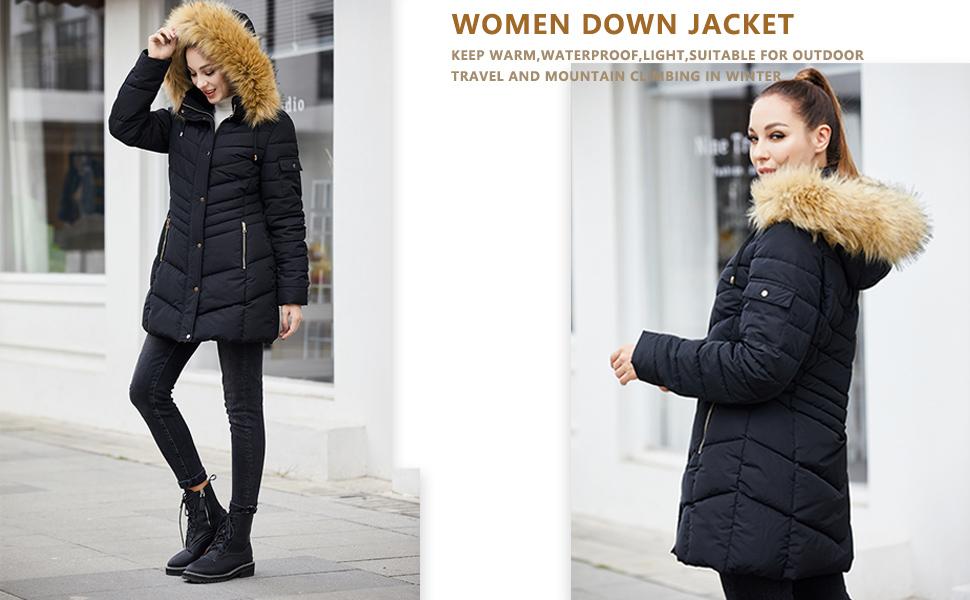 Women's Winter Coats Removable Hood Thicken Long Down Winter Coats Puffer Jacket Women