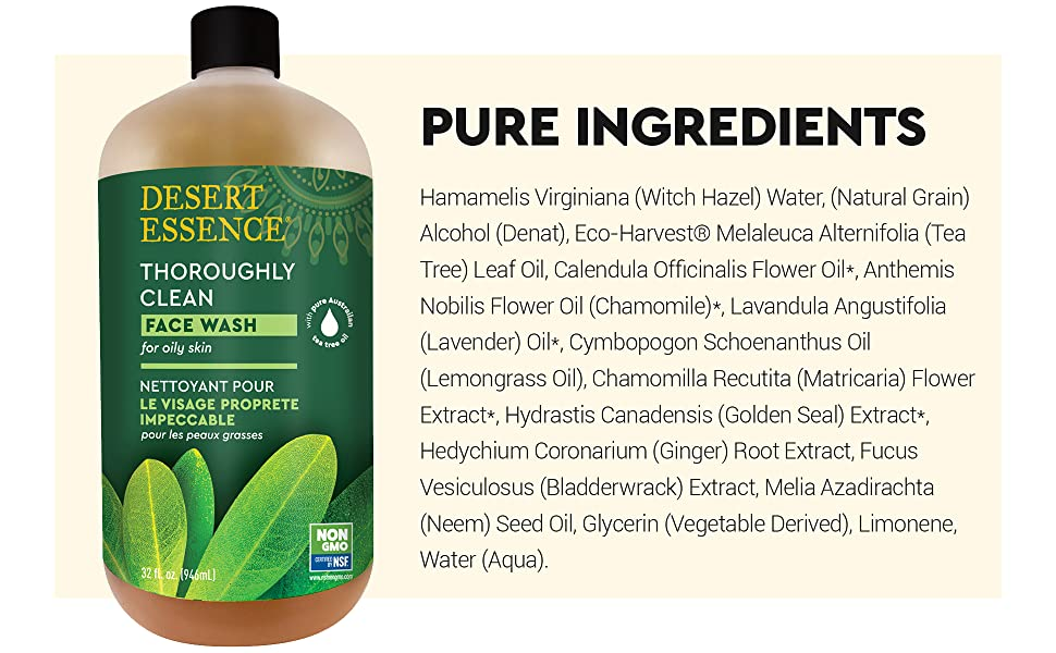 Desert Essence Face Wash Ingredients