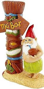 tiki bar tropical garden gnome funny garedn gnome lawn ornament statue double bird beer gnomes gift
