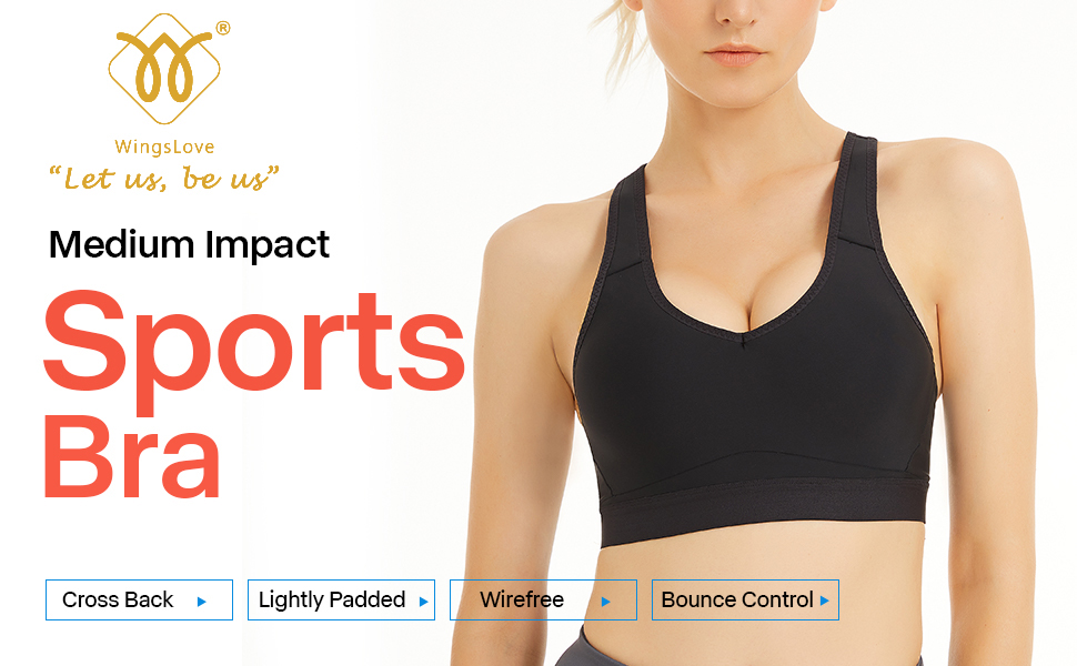medium impact sports bra cross back lightly padded wirefree bounce control