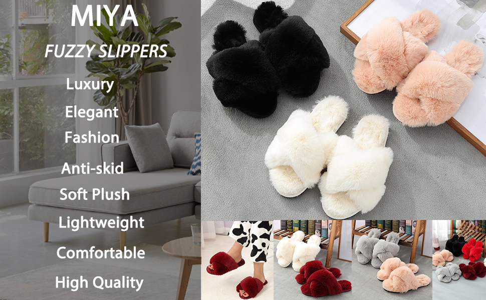 fuzzy slippers women
