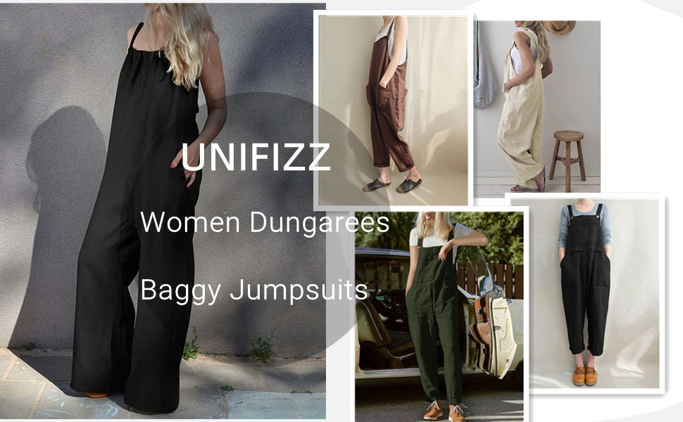 Unifizz Women Dungarees Linen Corduroy Jumpsuits Ladies Adjustable Strap Baggy Trousers//Straight Pants Retro Sleeveless Overalls Playsuit with Pockets