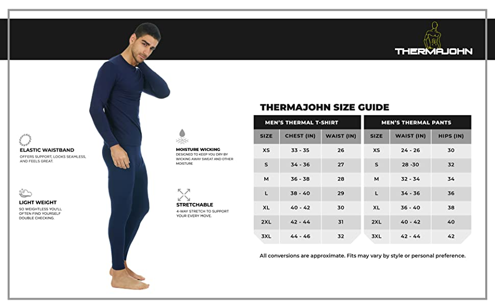 Thermajohn Size Chart