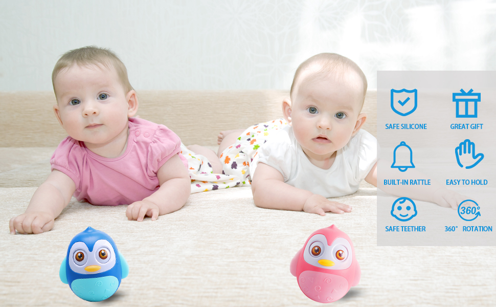 Alyoen Roly Poly Baby Toys 6 to 12 Months, Music Penguin Wobbler/Tumbler Toys for Infant Boys Girls