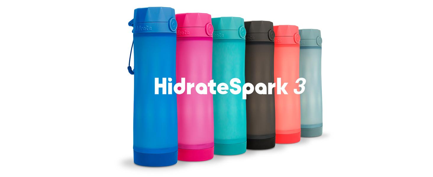 hidrate spark 3 banner, smart water bottles, 3 light patterns, sync via bluetooth, multiple colors