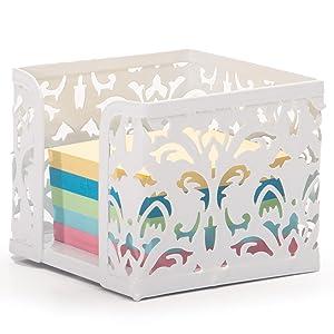 Soporte de notas adhesivas para el hogar y la oficina, organizador de escritorio, color rosa para mujeres y niñas