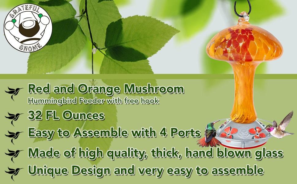 Red and Orange Mushroom Hummingbird Feeder