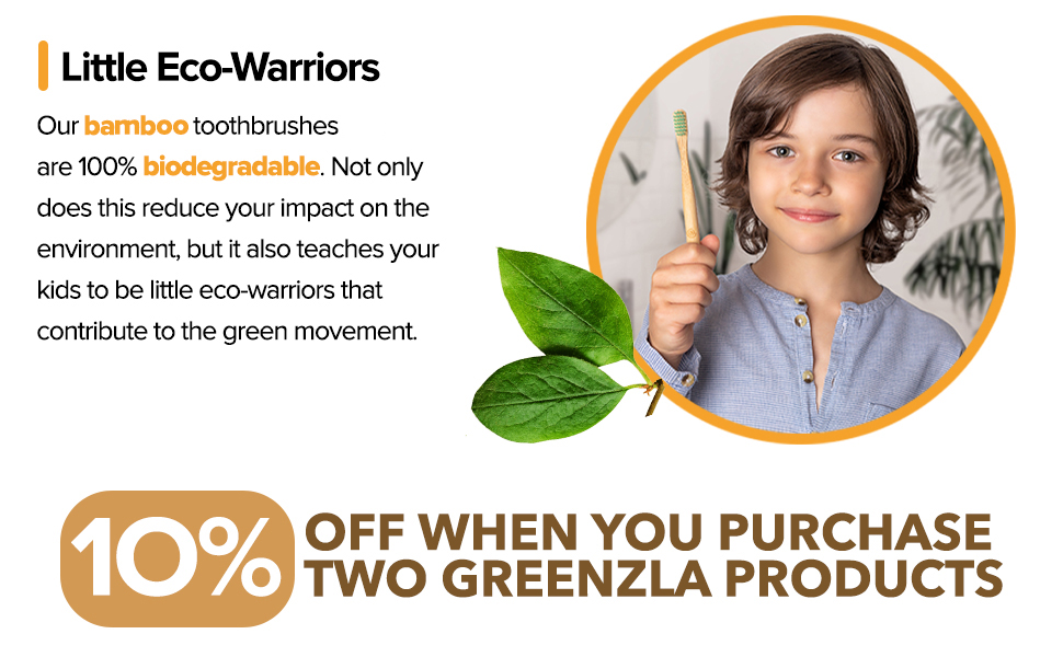 child bamboo toothbrush kids wooden toothbrushes soft bristles medium Green Wood Organic toddlers