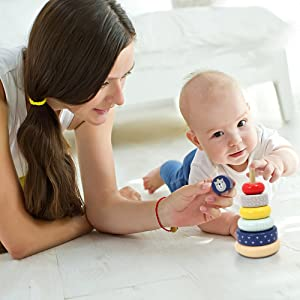 LEO /& FRIENDS Wooden Stacking Toys,Australia Origin Baby Toys for One Year Old and Up,Montessori Toys for Babies and Best Gifts for Playing with Parents.