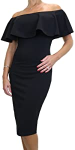 Women's Off Shoulder Bardot Ruffle Stretch Pencil Bodycon Dress