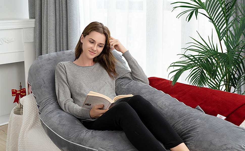 QUEEN ROSE Zus/ätzlicher Schwangerschaftskissenbezug 165 x 80 cm, Baumwolle, Grau