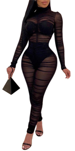 One Piece Mesh Outfits For Women See Through Jumpsuit