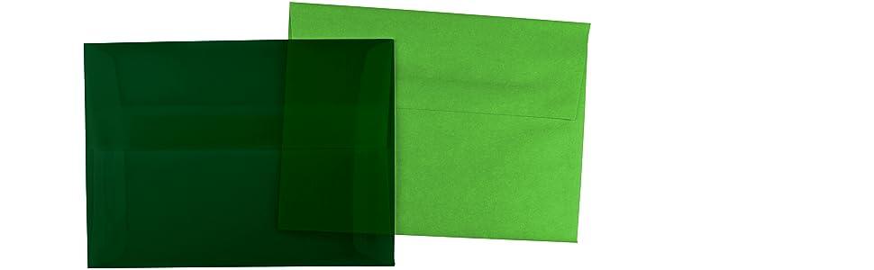 hunter green A6 translucent envelope