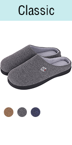 Men's & Ladies' Classic Memory Foam Plush House Slippers, Spring Summer Breathable Indoor Outdoor