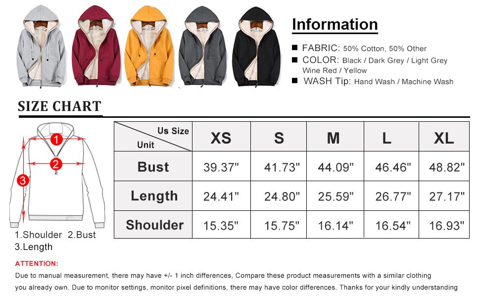 Size Chart of Flygo Women's Fleece Hoodie