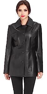 BGSD Women's Megan Lambskin Leather Car Coat