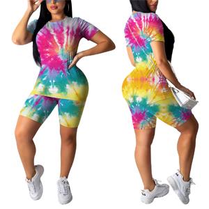 Women's Sexy Tie Dye Bodycon Shorts Set