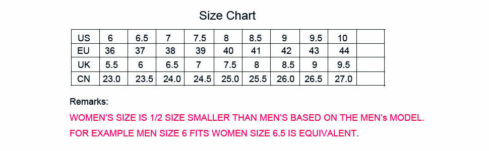 size chart and remarks