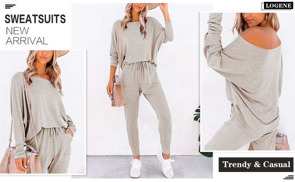 Two Piece Outfits Sweatsuit Long Pants Pajamas Set Lounge Sets Workout Athletic Tracksuit Jumpsuits