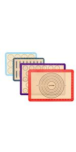 [4 pièces] Tapis de cuisson en silicone antiadhésif avec mesure