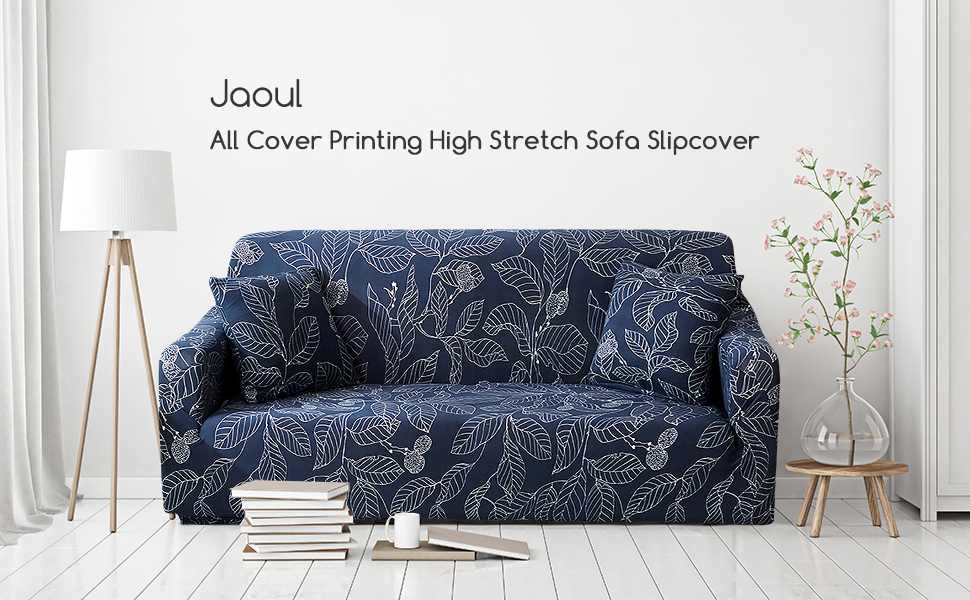 Jaoul All Cover Printing Elegant High Stretch Couch Loveseat Cover Slipcover Furniture Protector with Two Pillow Cases,Navy Leaves, Loveseat