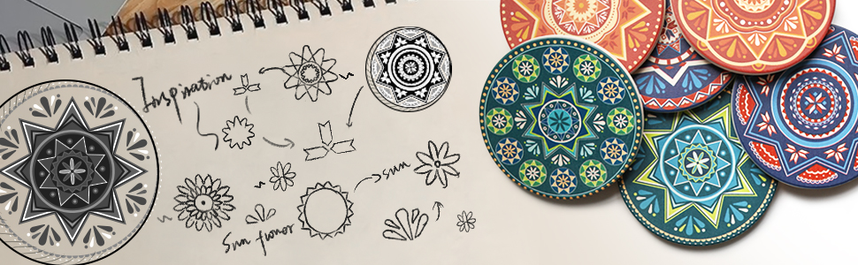 LIFVER Drink Coasters with Holder Perfect Housewarming Gifts 6 Pcs Absorbent Mandala Style Coasters and Anti-rust Metal Holder