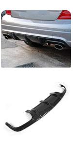 Benz W204 Sport amp; C63 AMG Bumper Sedan 2008-2011 Carbon Fiber Rear Bumper Lip Diffuser Dual Outlet