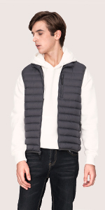 men gilet lightweight packable down vest duck feather power proof fill pockets warm light windproof