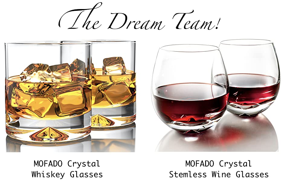 mofado crystal stemless whiskey wine glasses set of 2