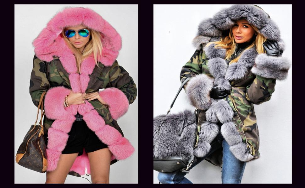Women Thicken Warm Fur Plus Winter Jacket//Outwear Coat Hooded Size Fleece Parka