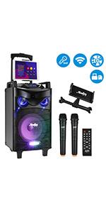 Moukey Karaoke Machine,540W Peak Power Wireless Connection Karaoke Speaker