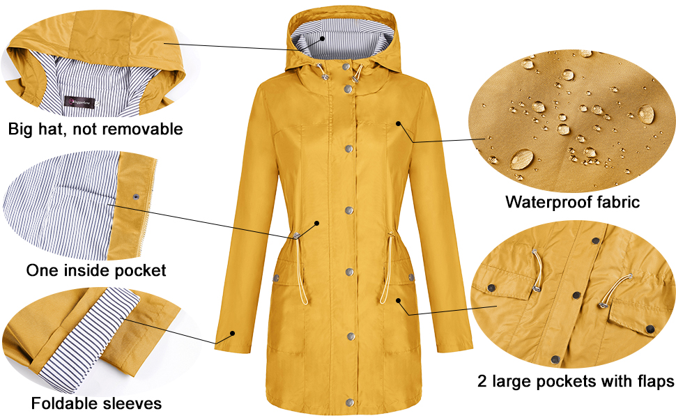 Bloggerlove Womens Raincoat Striped Lined Waterproof Windbreaker Active Outdoor Hooded Trench Coats