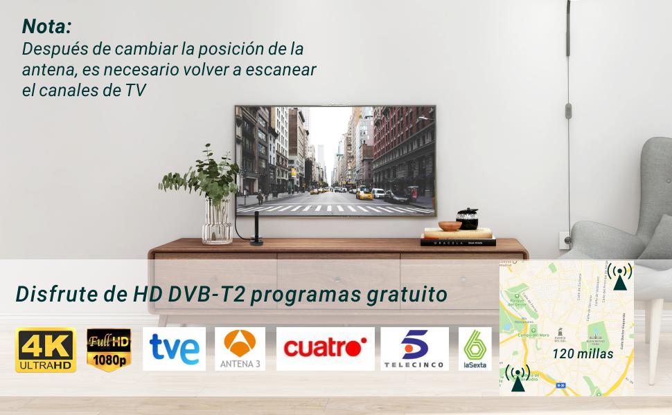 August DTA240 Antena de Alta Ganancia TDT (Televisión Digital Terrestre) – Antena Portátil Interior/Exterior para Receptor TDT USB / Televisión DVB-T / Radio DAB – Base Magnética: Amazon.es: Electrónica