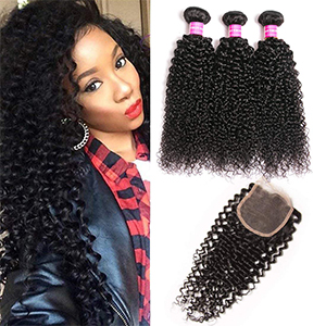 curly human hair bundles with closure