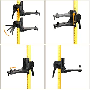 Support réglable multifonction: ¡ñLe support peut être placé à n'importe quelle hauteur de la tige selon vos besoins. ¡ñLe bouton de réglage fin de la hauteur offre une plage de réglage fin de 7 cm . Il y a une vis pour fixer la hauteur ajustée. ¡ñIl peut être ajusté à moins de 5 cm de profondeur afin de pouvoir être utilisé avec tout instrument mesurant 6,5-11,5 cm à l'arrière. ¡ñLe support de montage avec filetage mâle 1/4