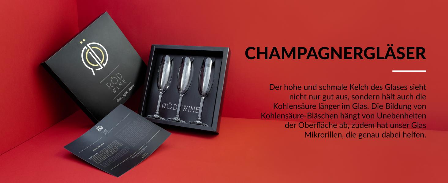 Champagnergläser Set mit wunderschön gestaltete Aufbewahrungsbox für Gläser als Geschenkset