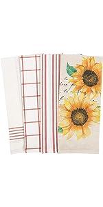 Sunflower Script Orange Yellow White Linen Towels Dish