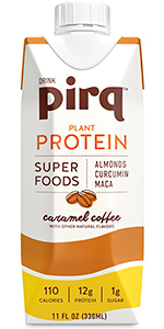 pirq, caramel coffee, plant based protein, plant protein, turmeric, maca, superfoods