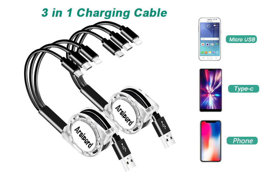 Multi Retractable Charging Cable Cute American Shorthair Cat Kitten with Copy Space Multi 3 in 1 Retractable USB Apple Charger Cable with Micro USB//Type C Compatible with Cell Phones Tablets and Mo