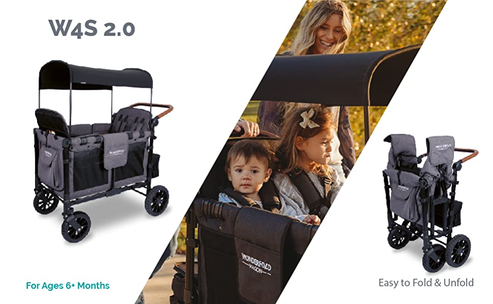 WonderFold W4S 2.0 Collapsable Stroller Wagon with Adjustable Canopy, Reclining Seats, & Belt Buckle