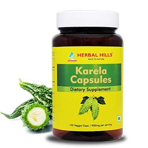 Karela Capsule Bitter Gourd Capsule Bitter Melon Capsules Herbal Hills Karela Dietary Supplements