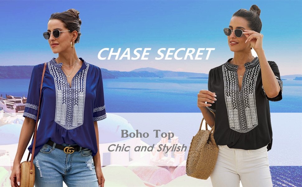 Chase Secret Womens V Neck Boho Embroidered Shirt Long Sleeve T Shirt Tops Casual Blouses M Blue