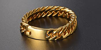 gold Stainless Steel Chain Charm Cuff Link Bracelets