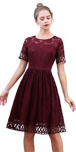 Women's Vintage Floral Lace Cocktail Dress Short Sleeve Party Dresses
