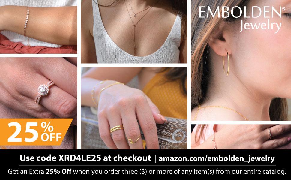 Embolden Jewelry CZ Bracelet, CZ Engagement Ring, Zirconia Eternity Ring, Layering Necklace, Earring
